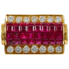 1970s Van Cleef & Arpels Diamond, Mystery-Set Ruby Ring