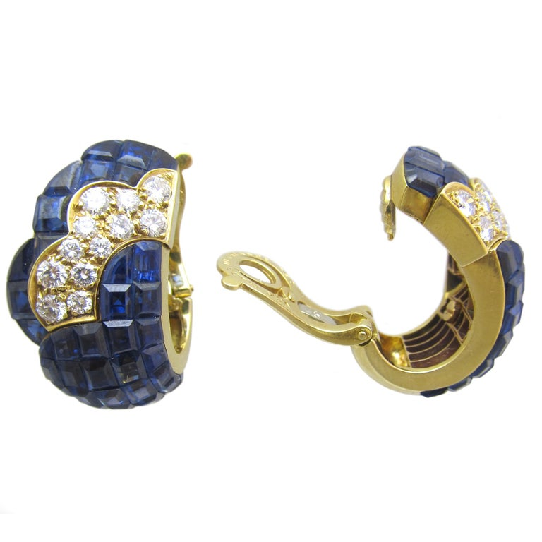 Van Cleef and Arpels  Diamond and  Sapphire Mystery -Set  ear-clips! Van Cleef & Arpels