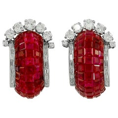 Van Cleef & Arpels Mystery Set Ruby Diamond Half Hoop Earrings
