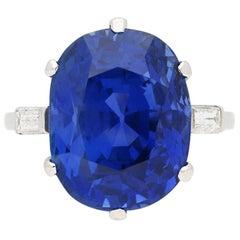 Van Cleef & Arpels Natural 13.36 Carat Burmese Sapphire Ring, circa 1930