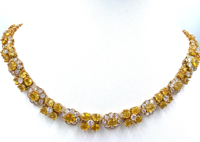 Van Cleef & Arpels Natural Yellow Ceylon Sapphire and Diamond Necklace In Good Condition For Sale In Brownsville, PA