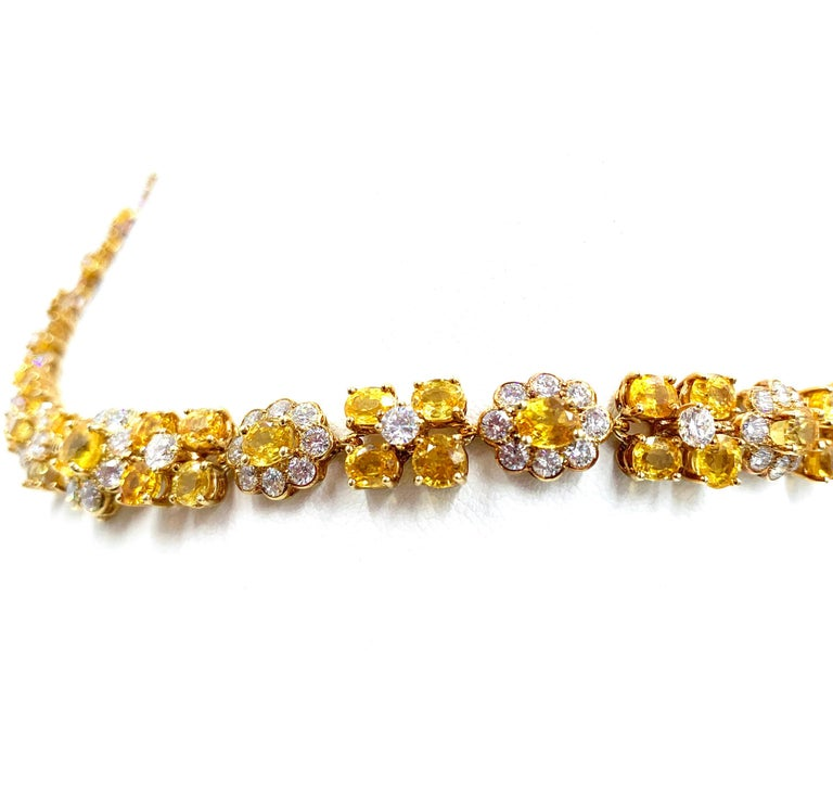 Van Cleef & Arpels Natural Yellow Ceylon Sapphire and Diamond Necklace For Sale 1