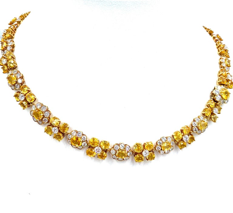 Van Cleef & Arpels Natural Yellow Ceylon Sapphire and Diamond Necklace For Sale 2