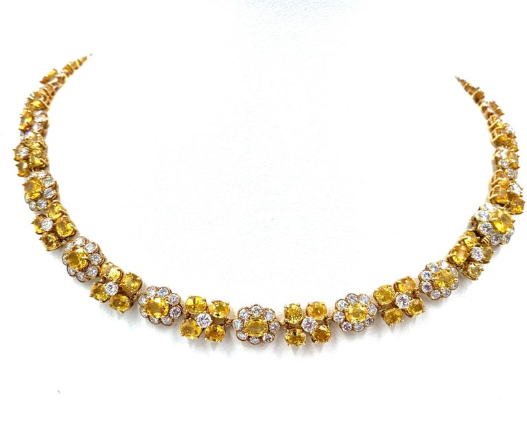 Van Cleef & Arpels Natural Yellow Ceylon Sapphire and Diamond Necklace For Sale 3