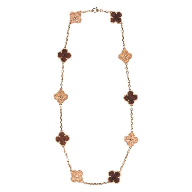 Women's Van Cleef & Arpels Vintage Alhambra Bois D'Amourette Rose Gold Necklace For Sale