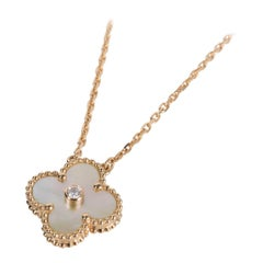 Van Cleef&Arpels Necklace Holiday Gold Mother of Pearl Vintage Alhambra Diamond