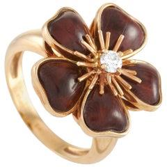 Van Cleef & Arpels Nerval 18 Karat Yellow Gold Diamond and Wood Ring