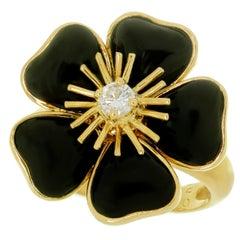 Van Cleef & Arpels Nerval Diamond Onyx Yellow Gold Flower Ring