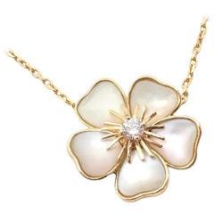 Van Cleef & Arpels Nerval Mother of Pearl Diamond Gold Flower Pendant Necklace