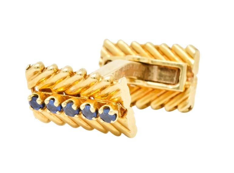 Contemporary Van Cleef & Arpels New York Sapphire 18 Karat Gold Men's Cufflinks