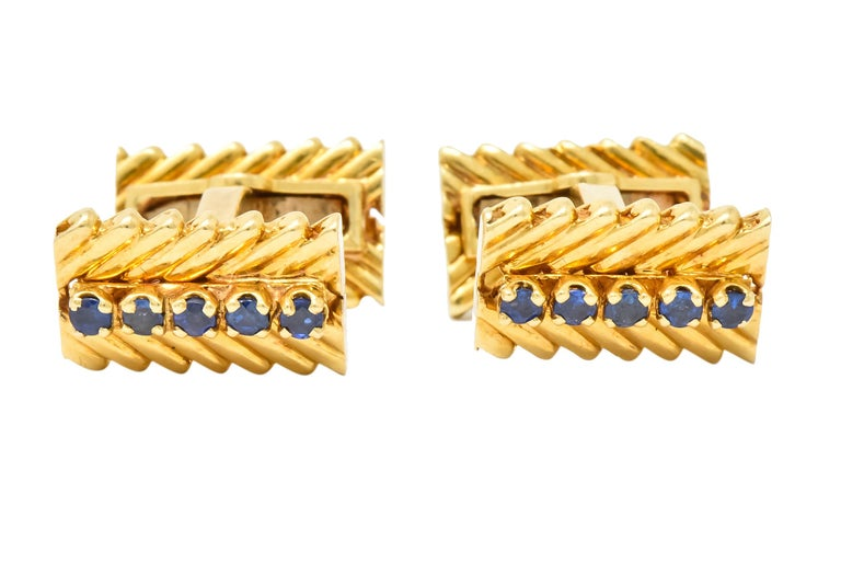 Van Cleef & Arpels New York Sapphire 18 Karat Gold Men's Cufflinks 1