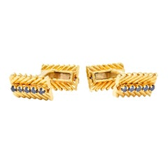 Van Cleef & Arpels New York Sapphire 18 Karat Gold Men's Cufflinks