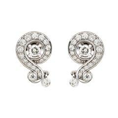 Van Cleef & Arpels Nid De Paradis Diamond & 18k White Gold Stud Earrings