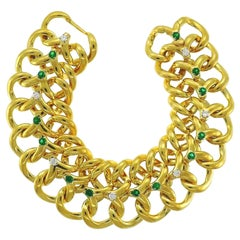 Van Cleef & Arpels NY 18k Yellow Gold, Diamond & Emerald Link Bracelet Vintage