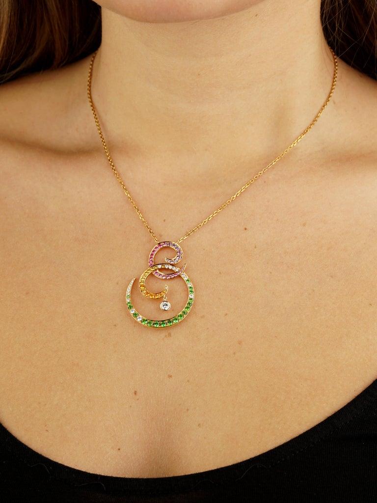 Round Cut Van Cleef & Arpels Oiseaux De Paradis Sapphire Diamond Pendant Necklace For Sale