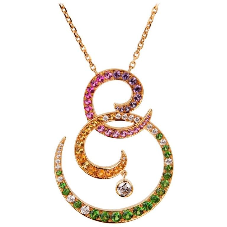 Van Cleef & Arpels Oiseaux De Paradis Sapphire Diamond Pendant Necklace For Sale
