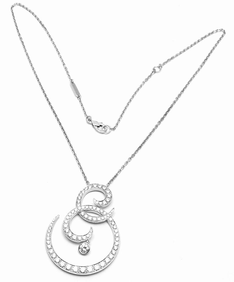 Platinum Diamond Oiseaux De Paradis Pendant Necklace by Van Cleef & Arpels With Round brilliant cut diamonds VVS1 clarity, E color Total weight 1.65ct This necklace comes with VCA box and service paper from VCA store. Details:  Length 16.5'', 15
