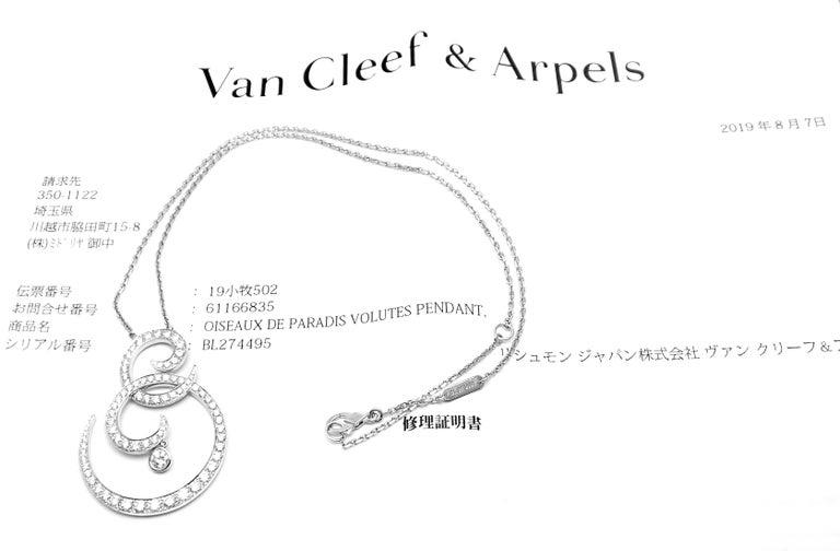 Van Cleef & Arpels Oiseaux De Paradis White Gold Diamond Pendant Necklace In Excellent Condition For Sale In Holland, PA