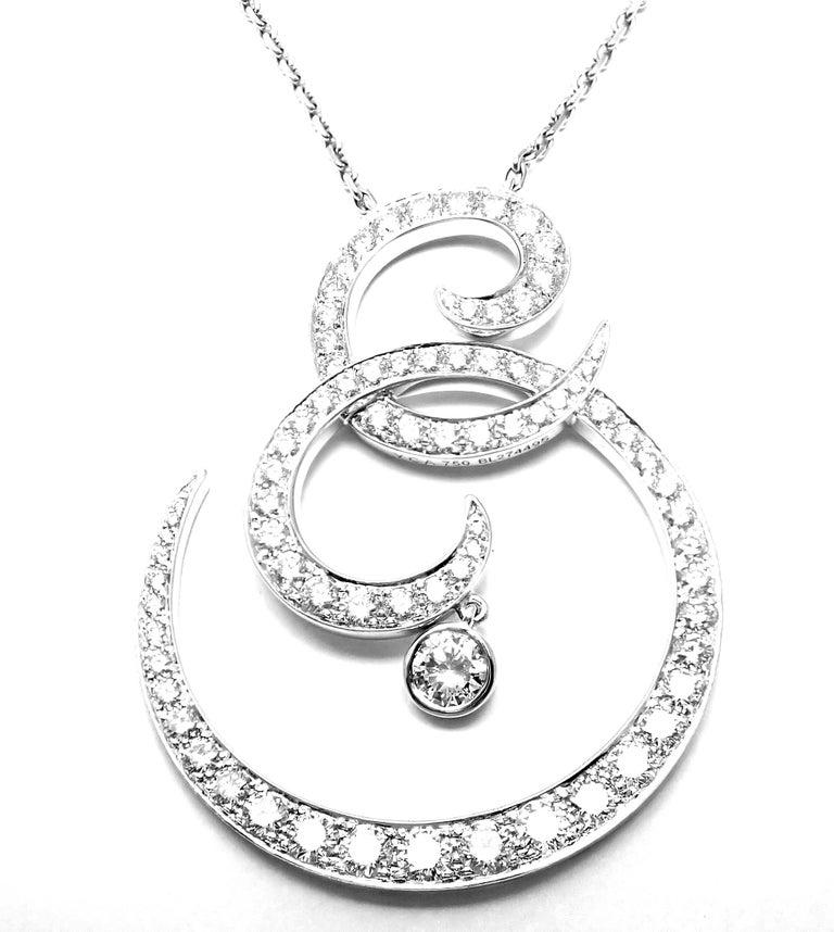 Women's or Men's Van Cleef & Arpels Oiseaux De Paradis White Gold Diamond Pendant Necklace For Sale