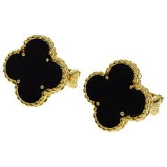 Van Cleef & Arpels Onyx 18 Karat Yellow Gold Vintage Alhambra Studs Earrings