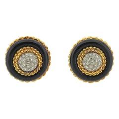 Van Cleef & Arpels Onyx Diamond Gold Earrings