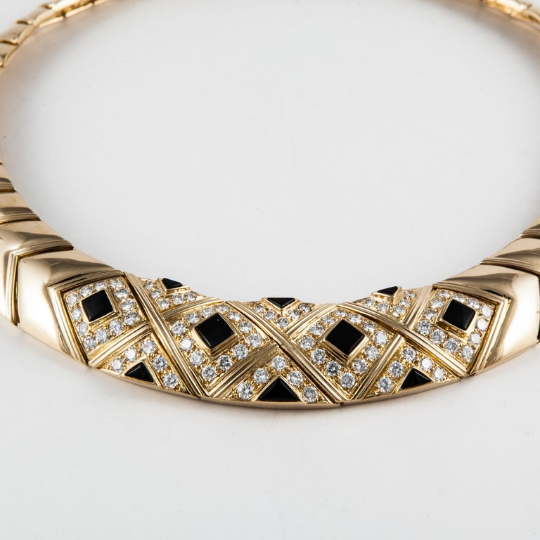 Van Cleef & Arpels Onyx Diamond Necklace In Good Condition For Sale In Houston, TX