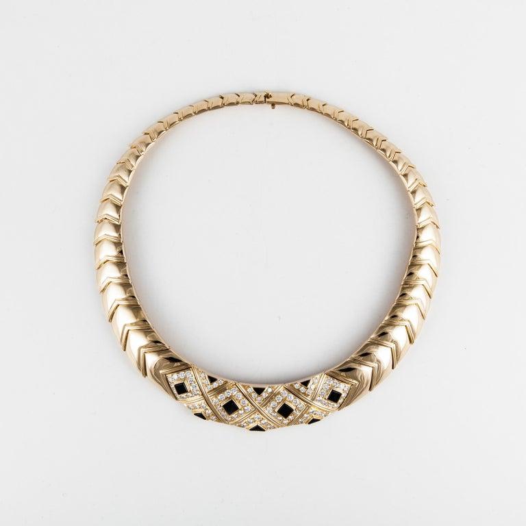 Women's or Men's Van Cleef & Arpels Onyx Diamond Necklace For Sale
