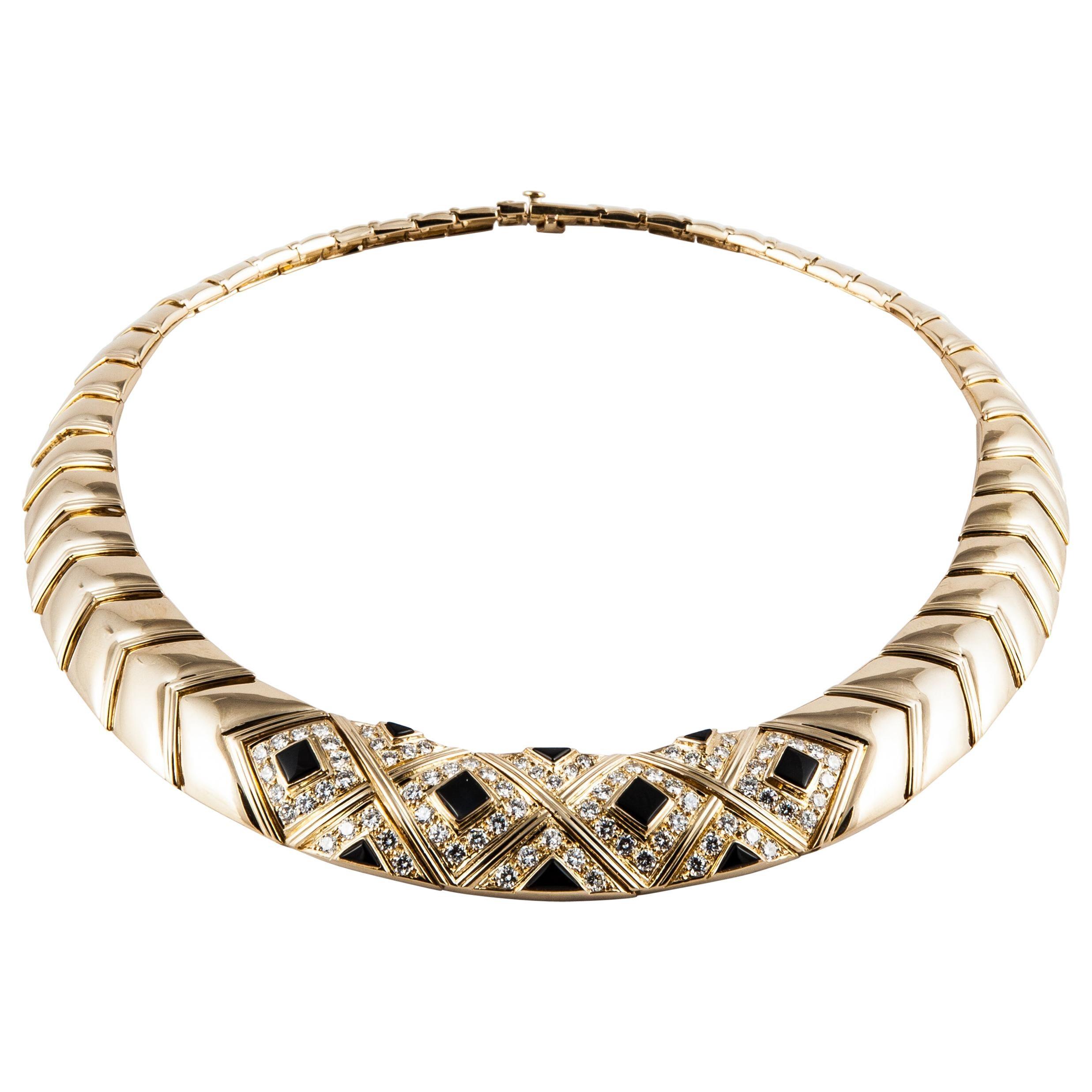 Van Cleef & Arpels Onyx and Diamond Collar Necklace