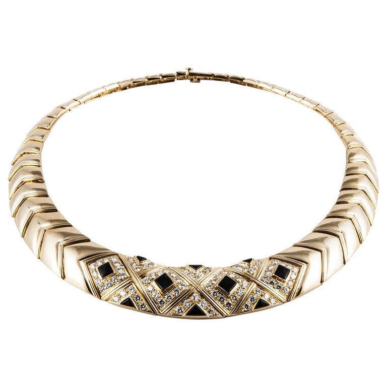 Van Cleef & Arpels Onyx Diamond Necklace For Sale