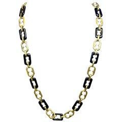 Van Cleef & Arpels Onyx & Gold Chain Necklace