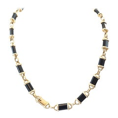 Van Cleef & Arpels Onyx Gold Necklace Bracelet Set