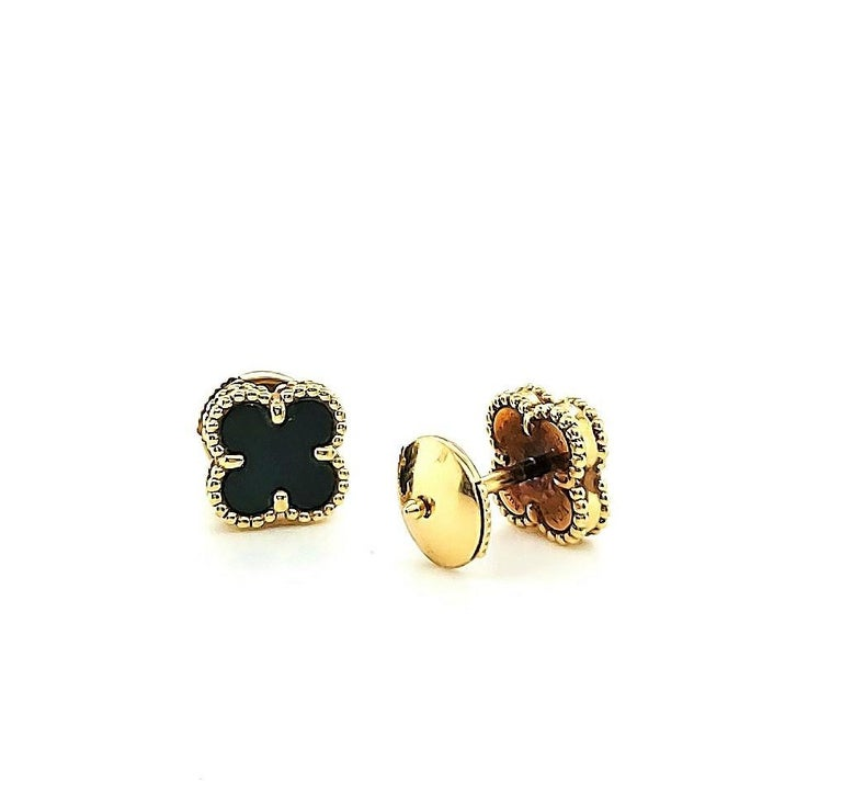 Van Cleef & Arpels Onyx Sweet Alhambra Earrings In Excellent Condition For Sale In New York, NY