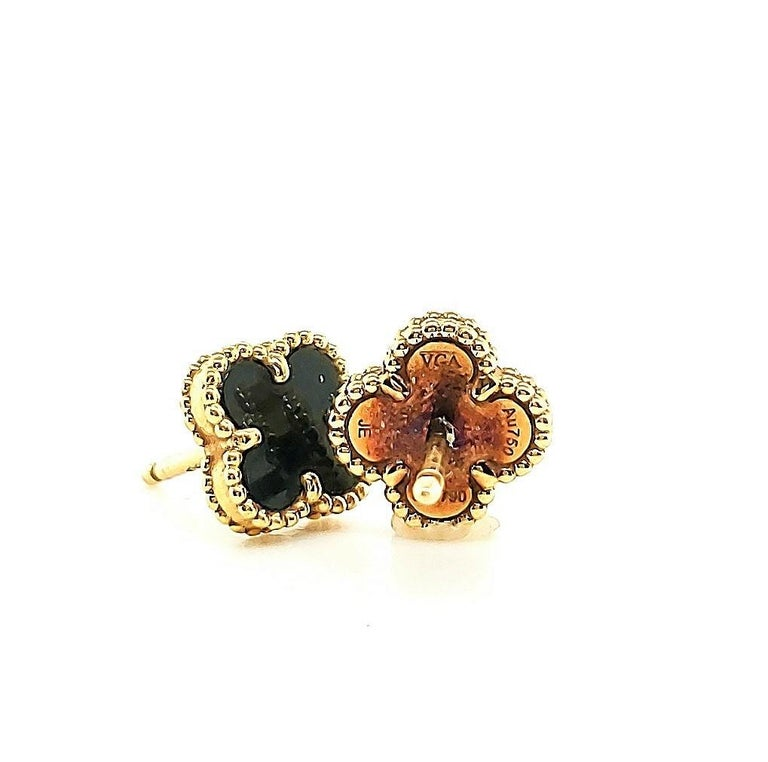 Women's or Men's Van Cleef & Arpels Onyx Sweet Alhambra Earrings For Sale