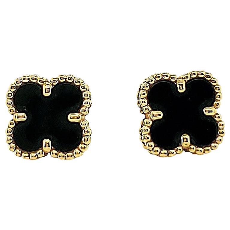 Van Cleef & Arpels Onyx Sweet Alhambra Earrings For Sale