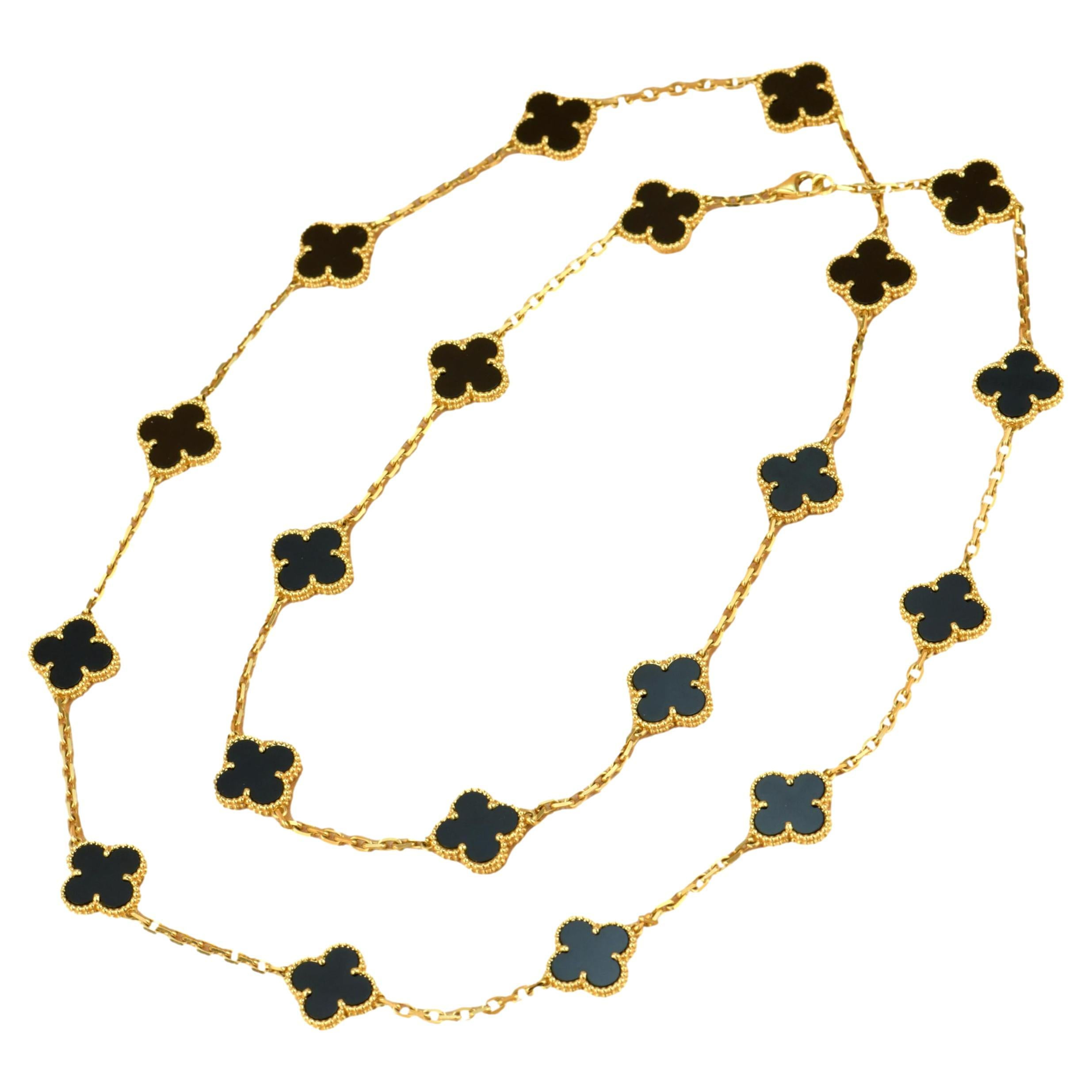 Van Cleef & Arpels Onyx Vintage Alhambra 20 Motif Long Necklace