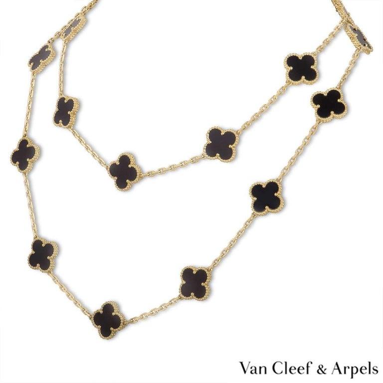 Mixed Cut Van Cleef & Arpels Onyx Vintage Alhambra Necklace VCARA43100 For Sale