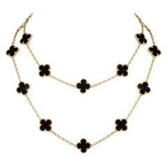 Van Cleef & Arpels Onyx Vintage Alhambra Necklace VCARA43100
