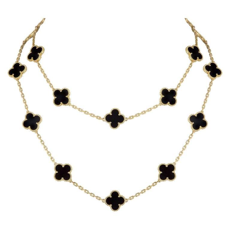 Van Cleef & Arpels Onyx Vintage Alhambra Necklace VCARA43100 For Sale
