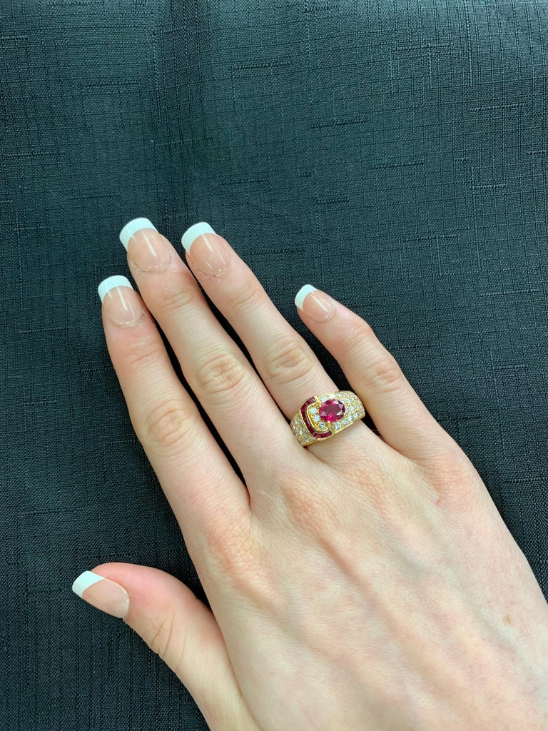 Women's or Men's Van Cleef & Arpels Oval Ruby and Diamond Ring with Invisibly Set Rubies, 18k