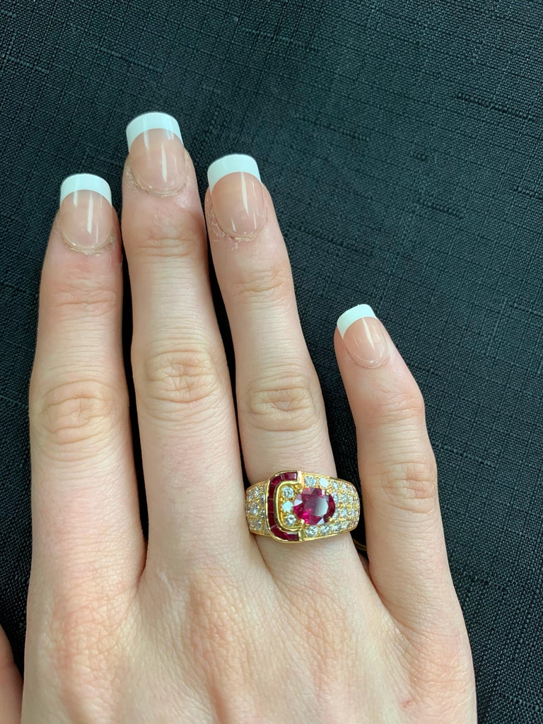 Van Cleef & Arpels Oval Ruby and Diamond Ring with Invisibly Set Rubies, 18k 1