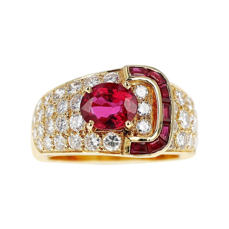 Van Cleef & Arpels Oval Ruby and Diamond Ring with Invisibly Set Rubies, 18k