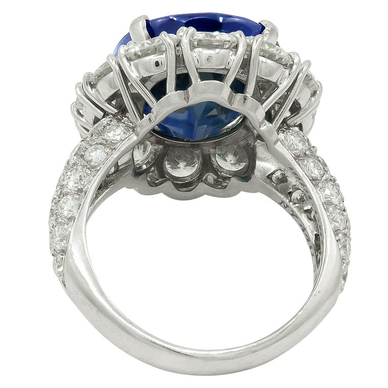 Oval Cut Van Cleef & Arpels Oval-Shaped Sapphire, Diamond Ring For Sale