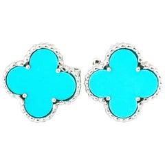 Van Cleef & Arpels Vintage Pair of and Alhambra Turquoise Earrings