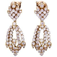 Van Cleef & Arpels, Pair of Diamond Drop Chandelier Earrings