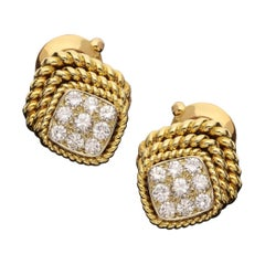 Van Cleef & Arpels, Pair of Vintage Diamond Rope Twist Gold Earrings, circa 1979