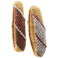 Van Cleef & Arpels Pair Ruby Diamond Cous Cous Bracelets
