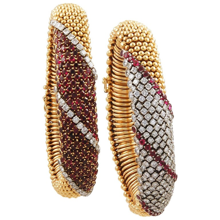 Van Cleef & Arpels Pair Ruby Diamond Cous Cous Bracelets For Sale