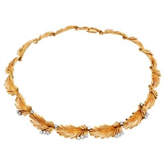 Van Cleef & Arpels Palm Leaf Gold and Diamond Necklace, circa 1950s