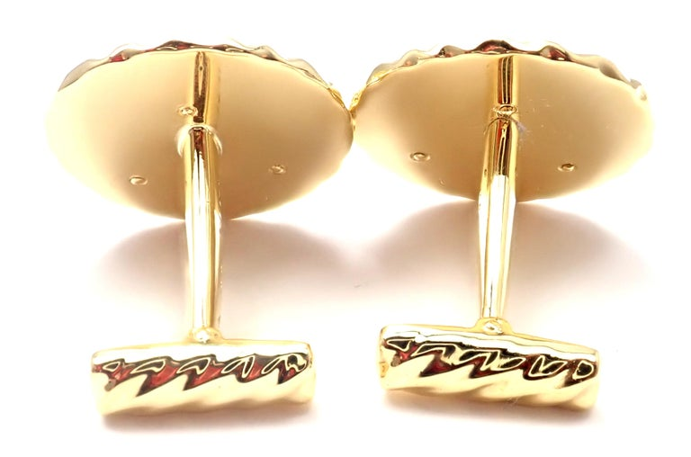 Van Cleef & Arpels Panther Panthere Yellow Gold Cufflinks For Sale 7