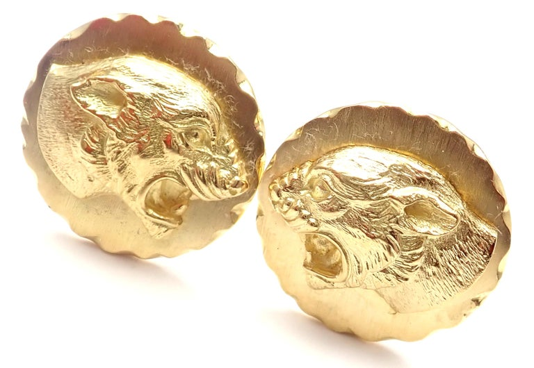 Van Cleef & Arpels Panther Panthere Yellow Gold Cufflinks For Sale 5